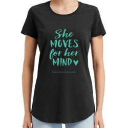 She Moved For Her Mind - Teal - Anvil Standard T Shirt - 790 Thumbnail