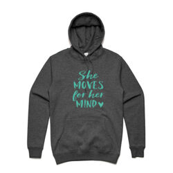 She Moves For Her Mind - Teal - Stencil Hood by AS Colour (Unisex) Thumbnail